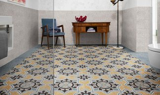 Colourful, decorated cement tiles with D_Segni Scaglie and D_Segni Colore