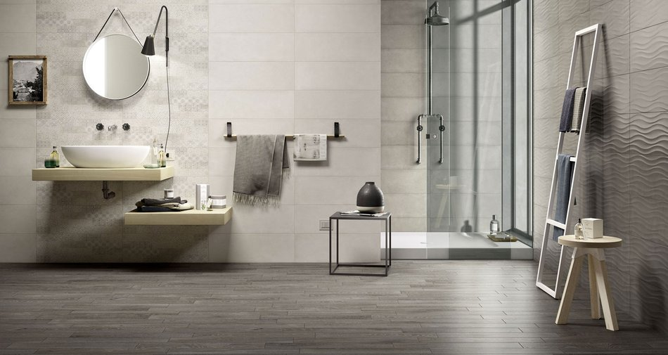 Clayline, Colourline, Marbleline. Three different ceramic tiles for bathroom walls
