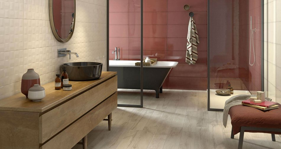 Pottery, Imperfetto and Oficina7: bathrooms reach for red