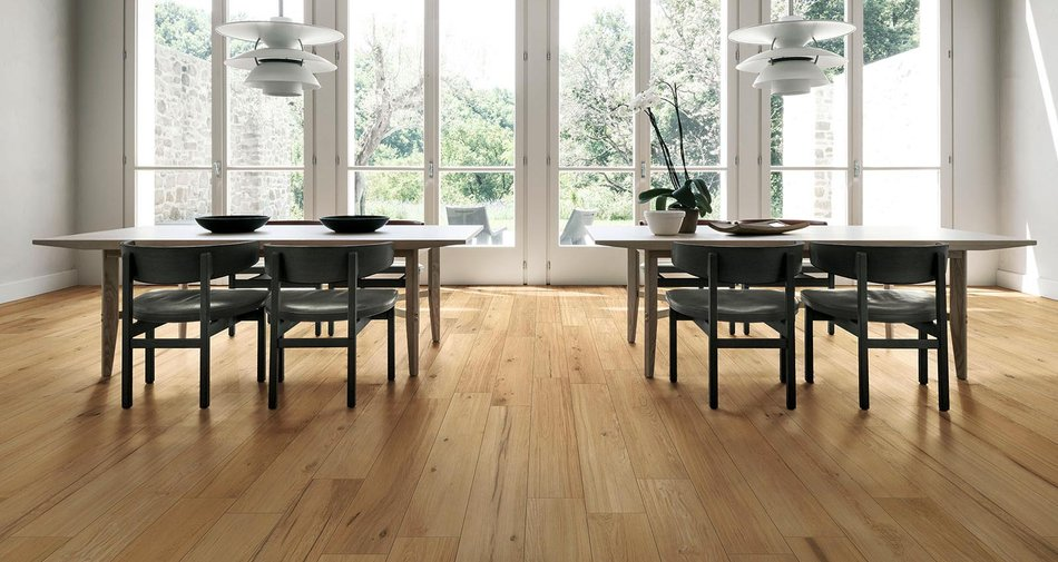 Treverklife, the oak-effect porcelain stoneware inspired by Venetian navigation dolphins