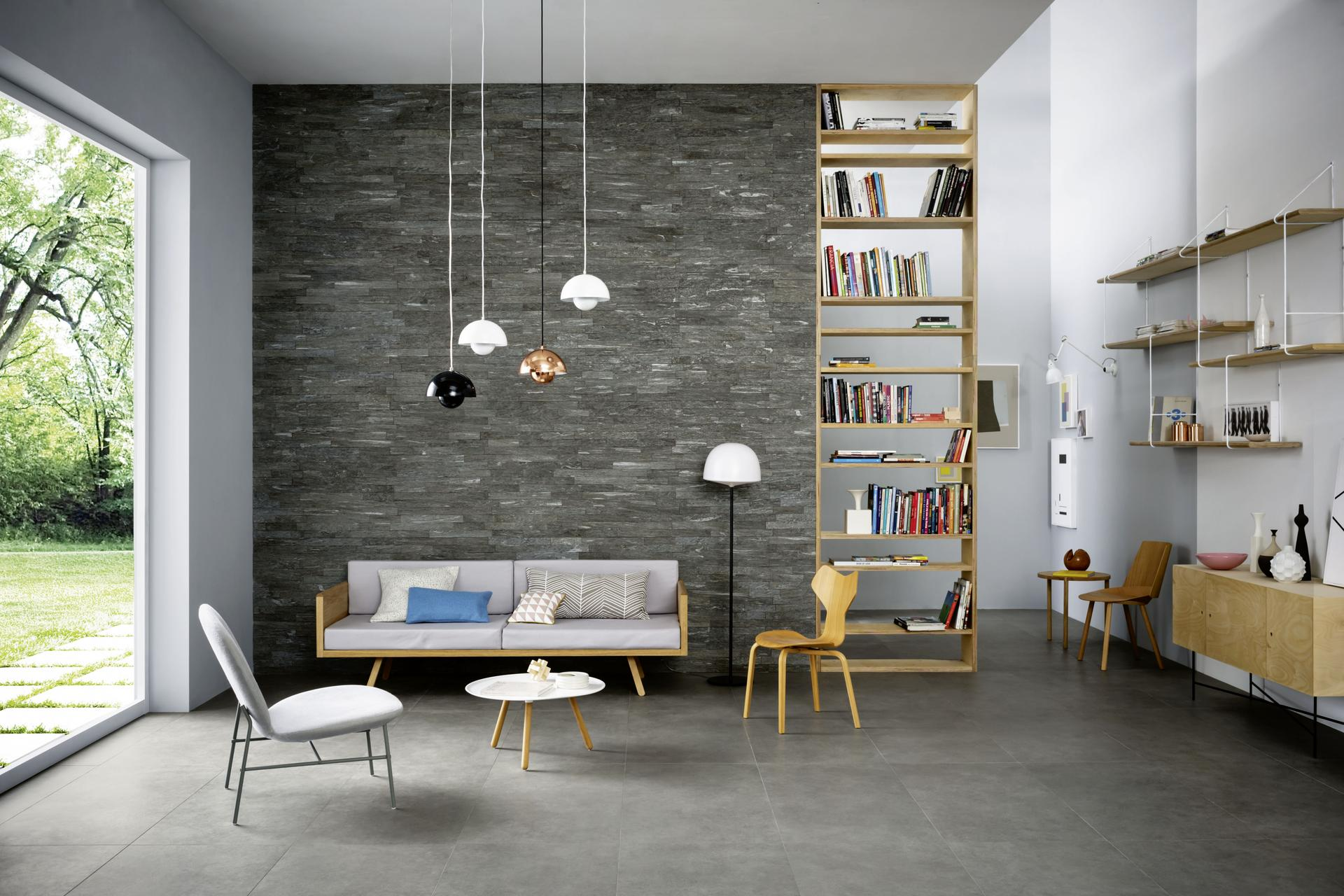 Stone effect for minimalist interiors marazzi - Pareti decorative in pietra ...