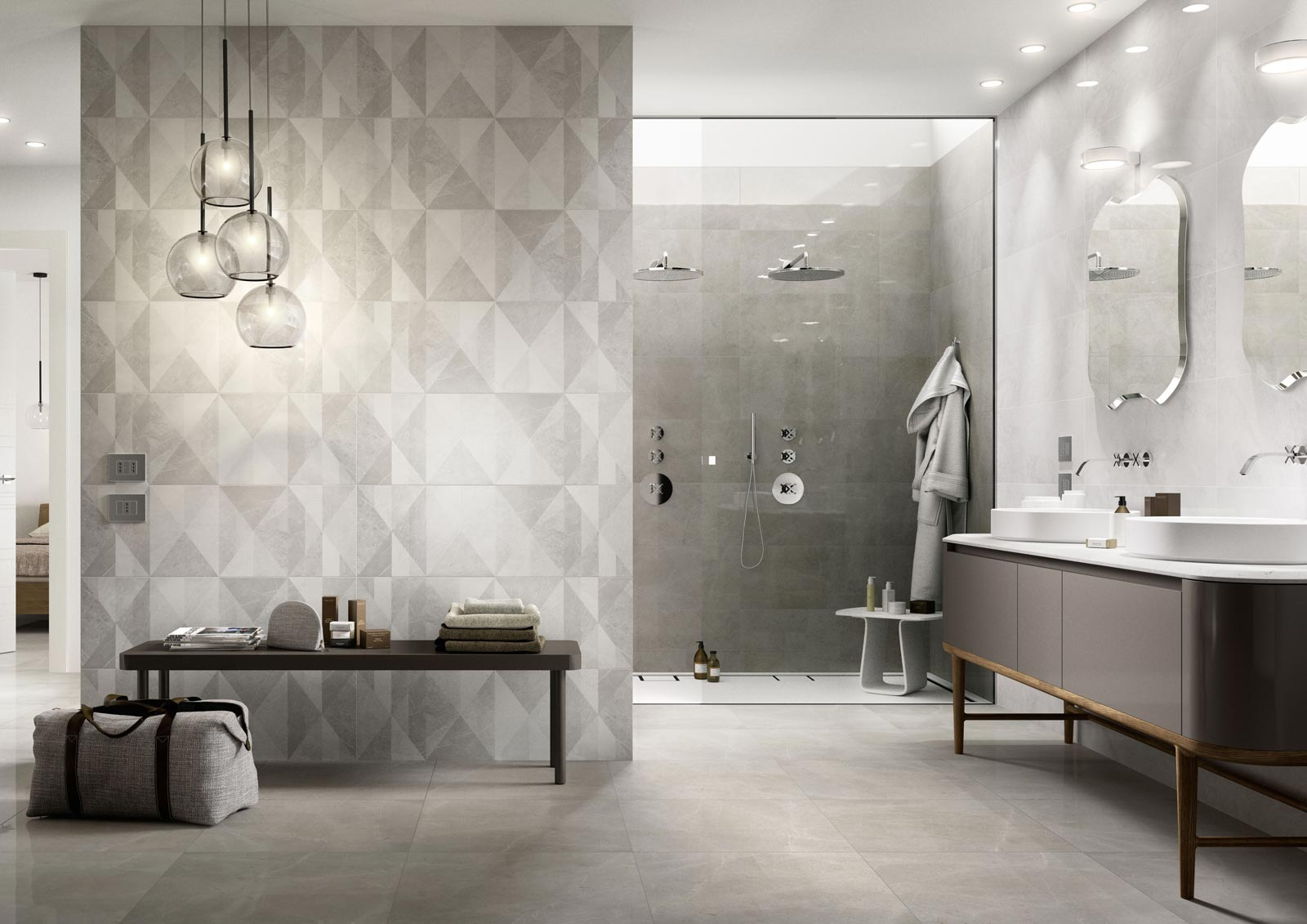 Bathroom flooring ceramic and porcelain stoneware marazzi for Tile for the bathroom