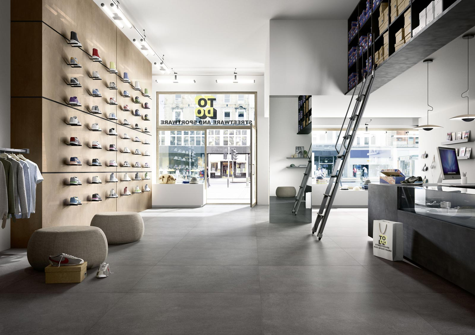 Xlstone stone effect stoneware in shops and spas marazzi for Carrelage 120x120