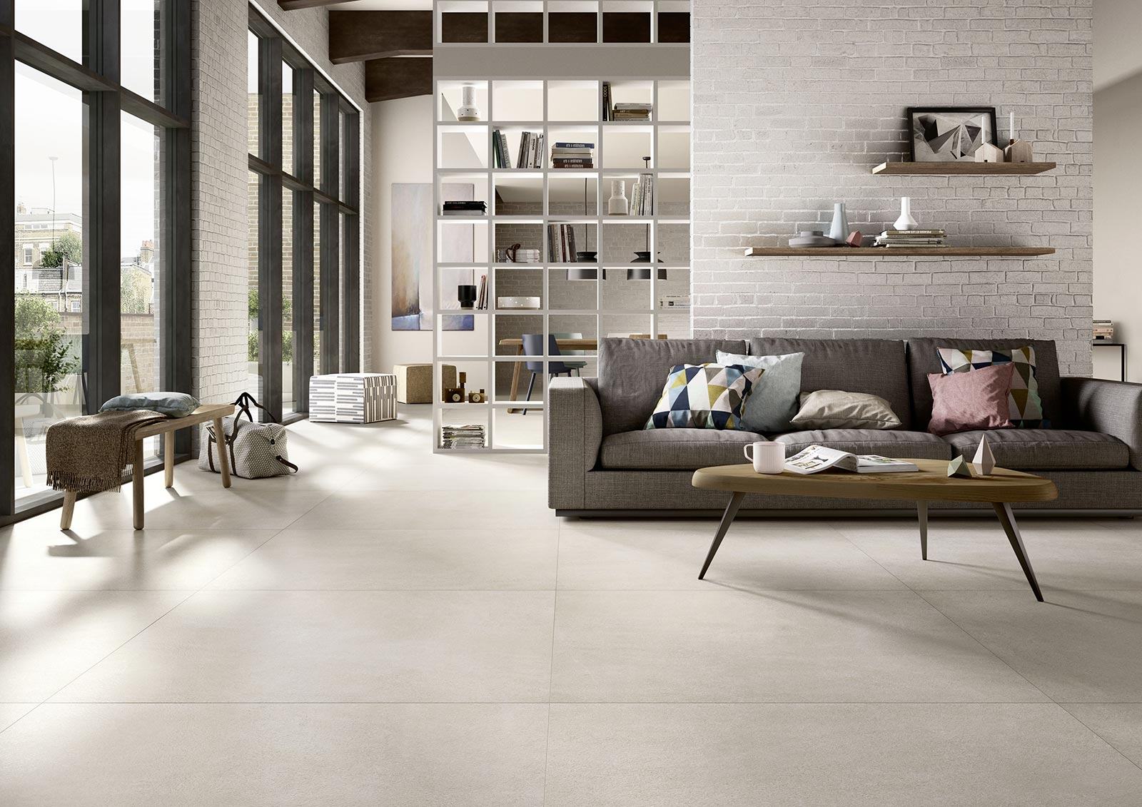 Living room floor inspiration for your furniture marazzi for Carrelage 10x10