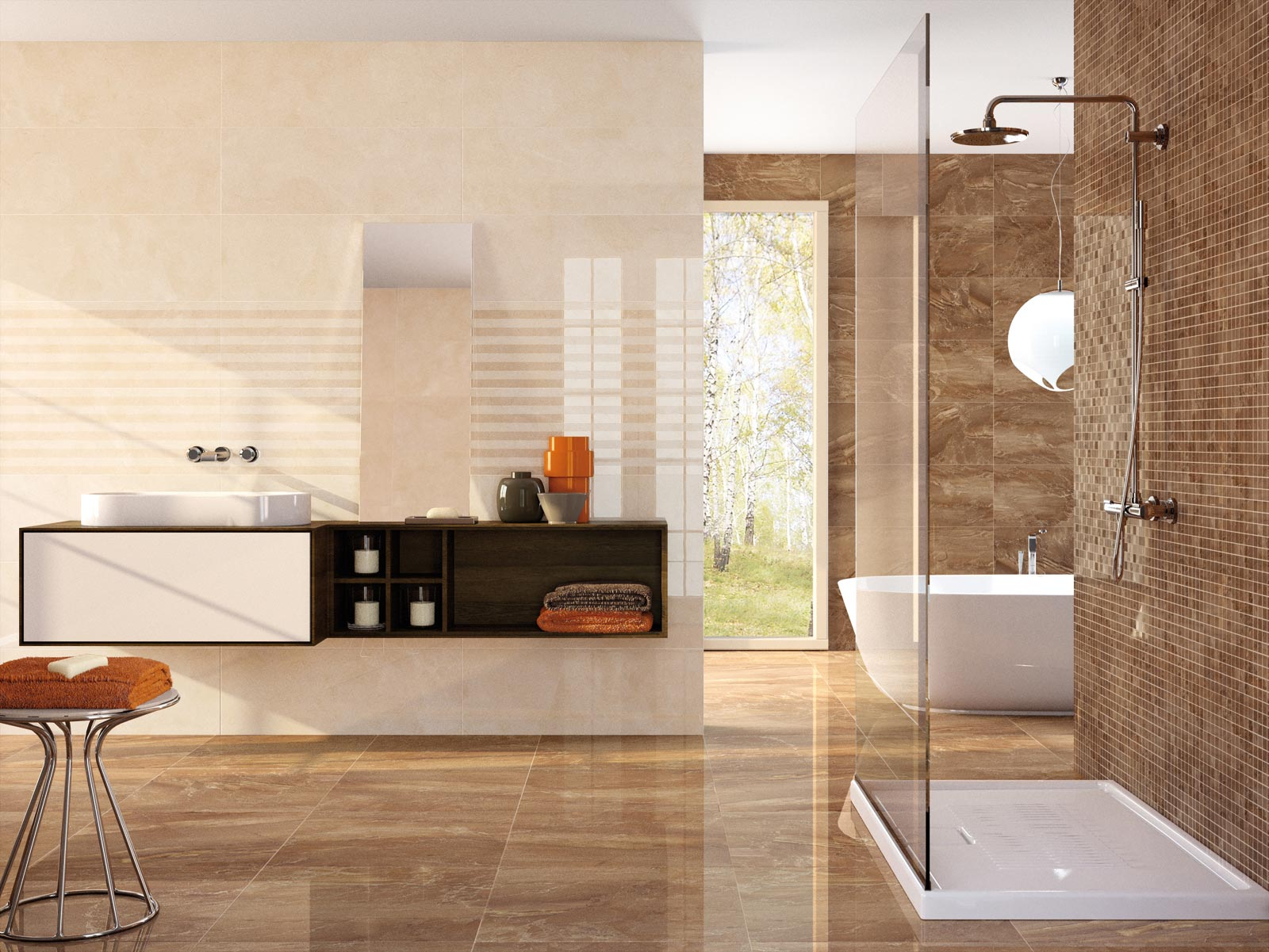 Perseo marble effect stoneware with mosaics marazzi for Suelo marmol beige