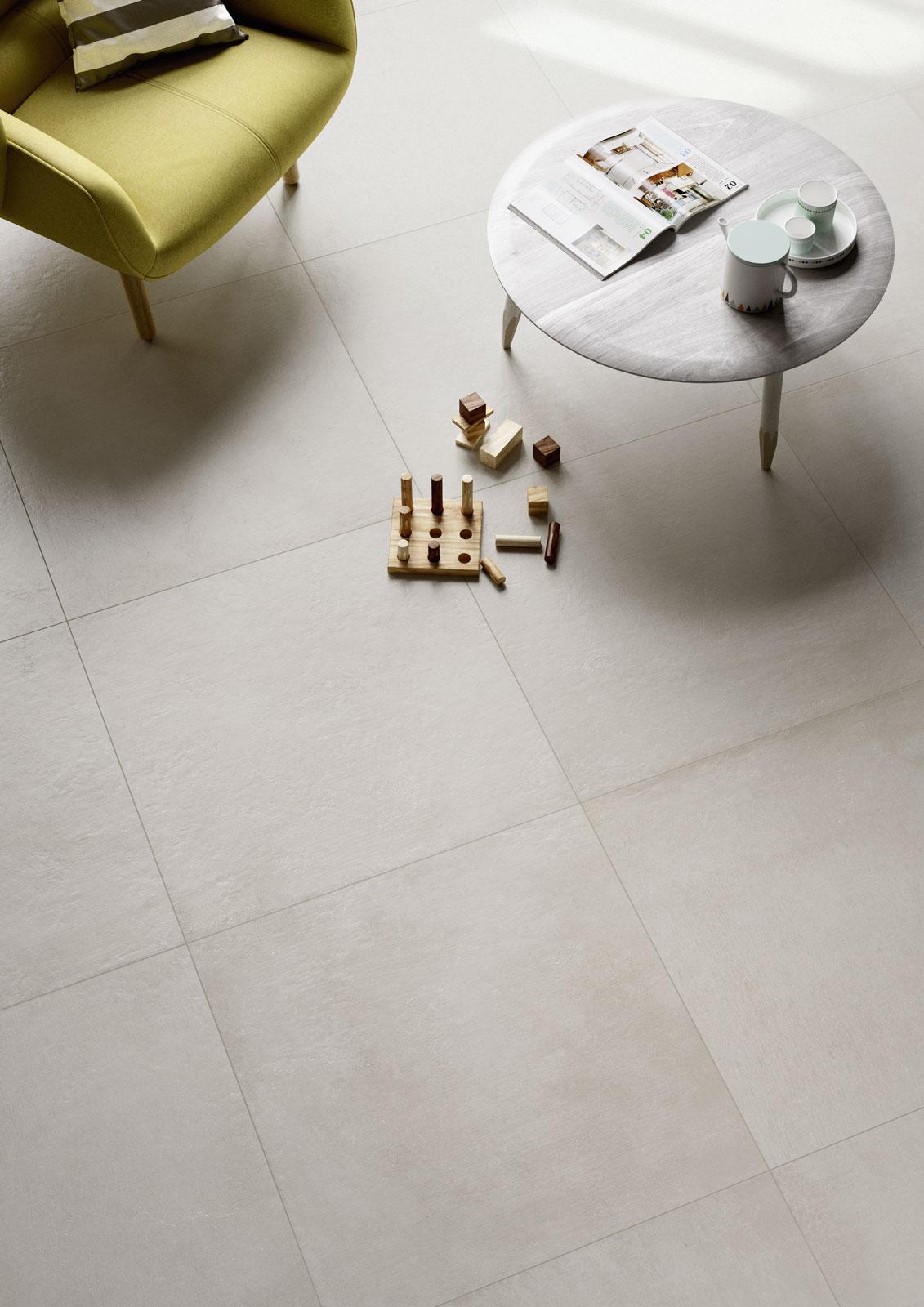 Plaster porcelain stoneware flooring marazzi for Carrelage 75x75