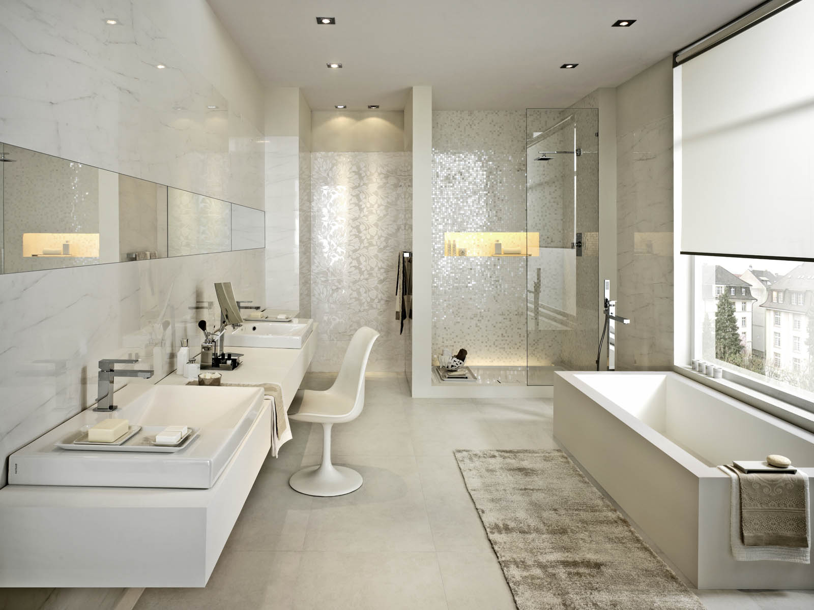 Bathroom flooring ceramic and porcelain stoneware marazzi for Marazzi tile